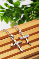 100% sterling silver Lovers necklaces & pendants Cross Wings Love Pair Set 2013 statement trendy charms jewelry sets for couples