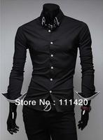 Fashion Striped Lining Long Sleeve Men Dress Shirt CPAM Free Shipping