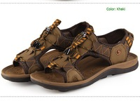 2014 men's sandals fashionable casual male beach sandals leather sandals breathable outdoor sandals plus size camel shoes