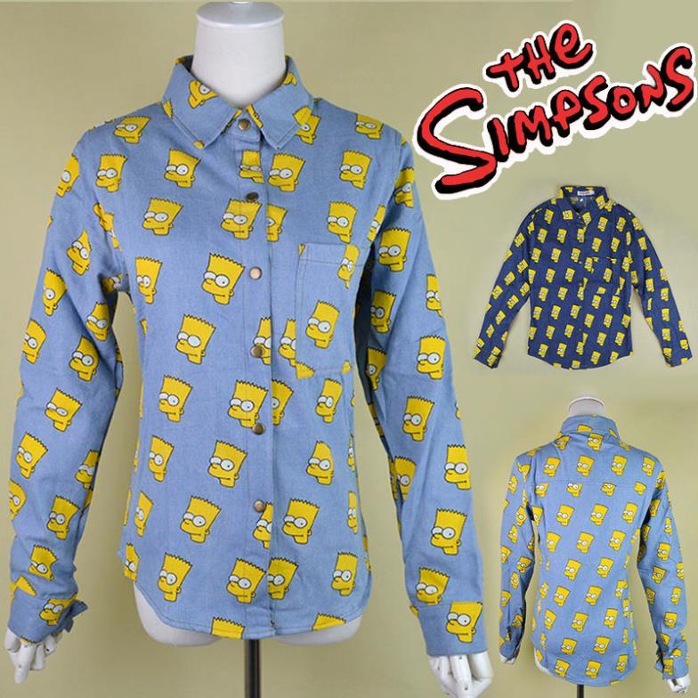 Hot! Fashion Women/Men Portrait Head Bart cartoon Simpson long sleeve Vintage denim jean shirt top 2 color plus size wholesales(China (Mainland))