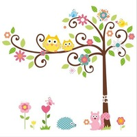 Free shipping wall sticker,home decoration,living room sticker,50*70CM Cute Owl Tree ,free shipping
