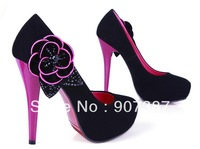 Free shipping/Mixed wholesale 2014 hot sale new style Upscale quality Occident flowers high heels superelevation platforms pumps