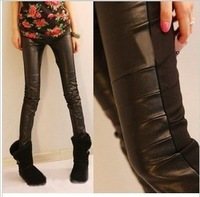 2014 New Casual Knitting leggings for women front leather back cotton knit leggings women's sexy clothing free shipping
