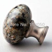 3pcs Stone Brass Cabinet Knob Dresser Drawer Knobs,32mm China Green Granite Mushroom Handles for Bedroom Furniture,Free Shipping