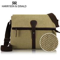 Free shipping genuine leather Korean casual canvas bag for ipad men's shoulder bag leisure messenger bag cross section