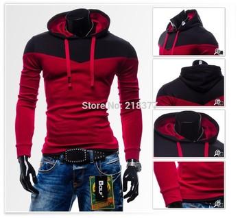 New 2014 men sportswear Hot-selling sweet lovers colorant match with a hood sweatshirt outerwear ,man hoody,hoodies men size 3XL