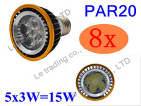 8Pcs/lot Par20 Led Lamp E27 Dimmable 5X3W 15W Spotlight Led Light Led Bulbs 85V-265V Energy Saving Free shipping