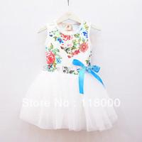 2014 new arrival summer female children flower one-piece dress kids tulle dress girls ballte tutu dress dance dress