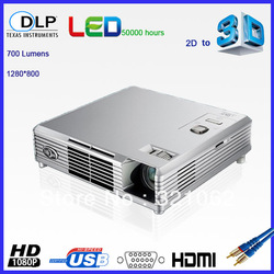 The World's First DLP-LINK Portable 700 lumen 3D LED projector(China (Mainland))