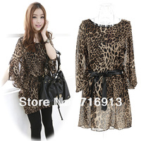 2014 New Fashion Korean Women's Ladies Loose Print Chiffon 1/2 Batwing Sleeve Leopard Dress Free Shipping 11616