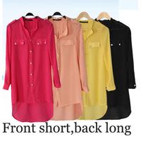 womens Camisas Shirt Woman blouses long shirts Chiffon design Solid big size Summer clothes Casual Sweet shirt XXXL 4XL Black Re