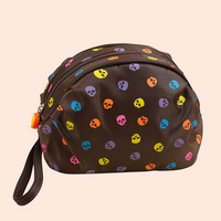 Free shipping 2015 new fashion high quality fluorescence Skull brown Hamburg-shaped lovely waterproof Nylon ladies cosmetics bag