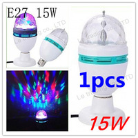 1pcs/lot  E27 15W 3 Color Energy-saving LED Light, Crystal Rotating Party Bulb Globe Lamp Bubble Ball Bulbs Free Shipping