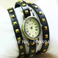 2013 Newest Arrival Woman Wristwatch Leather Band Bracelet  Watch Antique Quartz  Beautiful Watch 2 Color Free Shipping