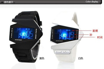 Top Quality  EVSHSB (96) Bomber Flashlight LED+12/24Hrs Military Force Sport Digital Calendar Cuff Watch Gift  ,Free shipping