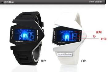 Top Quality  EVSHSB (96) Bomber Flashlight LED+12/24Hrs Military Force Sport Digital Calendar Cuff Watch Gift  ,Free shipping