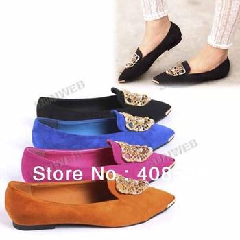 Women's Shoes Ballet Low Heels Leopard Head Flat Shoes Loafers Metal Pointy Toe free shipping 11317