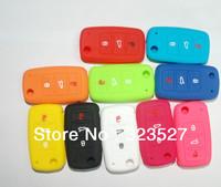 100pcs/lot good quality silicone car key cover for VW/SKODA,popular fob car key case ,rubber car key case for VW key