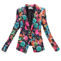 2014 Winter And Autumn New Fashion Blazer Women High Quality Print Slim Ladies Coat Jacket Suit  YL04