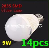 14pcs/lot E27 9W 2835SMD AC85-265V Bubble Ball Bulb High power Energy Saving Ball LED Light Bulbs Lamp Lighting Free shipping