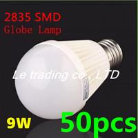 50pcs/lot E27 9W 2835SMD AC85-265V Bubble Ball Bulb High power Energy Saving Ball LED Light Bulbs Lamp Lighting Free shipping