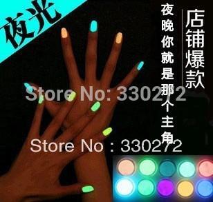 12Pcs/Lot   Free Fast Shipping Popular Luminous Nail Polish nail art / Fluorescent nail Enamel 20 Colors