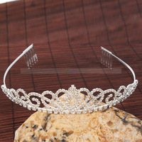 Free Shipping  New  Rhinestone Bridal style Hair Accessories wedarty Tiara Crown Hding bride pairpin Jewelry 16003754