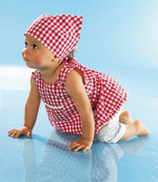 2014 Red plaid baby suits/Red sets:3 pieces Baby kerchief+ sleeveless dress+ white pant baby wear baby set/ Lovely New designs