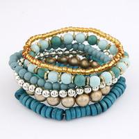 Hot New Bohemian Blue Sea Multi Strands Beads Beaded Stretch Bangles