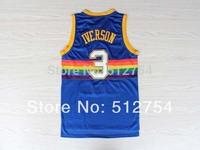 Denver #3 Allen Iverson Jersey,Rev 30 Throwback Basketball Jersey,Best quality,Authentic Jersey,Size S--XXXL,Accept Mix Order