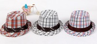Free shopping 2013 New fashion popular Lovely children's Hat Leisure lattice jazz hat  children's hat  children fedoras3 colour