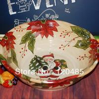 13.5 -inch Christmas series of hand-painted ceramic deep plate, household ceramic tableware, ceramic tableware
