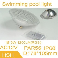 free shipping LED Par56 Lamp of PVC+ABS Material 54W UnderWater light AC12V for your Pool Fountain Garden Backyard(China (Mainland))