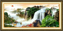 The red sun rises in sky. Chinese classical landscape cross-stitch unfinished handmade cross-stitch Suite + FREE SHIPPING(China (Mainland))