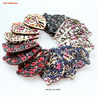 (Mixed 5 colors,60pcs/lot )  Fabric topper wooden back wood earrings bulk supplies China crafts decorations leaf shape -GJ1029