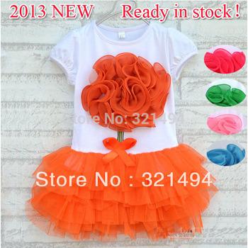 [Bear Leader]2014 New 2~5 years 3pcs/lot baby girl flower dress Kids Summer short-sleeve layered dress Children clothes AQZ040