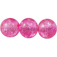 "Crackle Glass Beads Strands,  Round,  DeepPink,  about 6mm in diameter,  hole: 1mm,  about 140pcs/strand,  33""/strand"