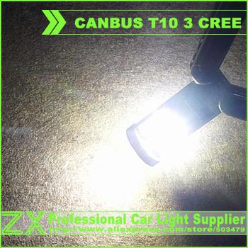 Super Bright + high power + Wholesale 100pcs/lot + Canbus Car LED SMD Light + NO OBC ERROR Canbus T10 W5W 194 3 Cree Led Bulb