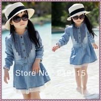 2013 spring child  baby princess dress girls clothing gentlewomen denim skirt long-sleeve dress