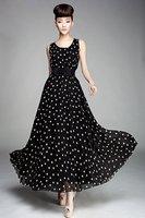 women's sexy maxi long polka dot casual brief work sleeveless chiffon vintage cocktail long dress