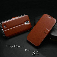 New arrival Flip leather case for samsung galaxy S4 skid proof  flip cover for i9500 with stand fuction card holder free gift