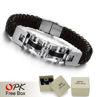 OPK JEWELRY New arrival Wholesale / Retail,316L stainless steel and leather wrist cuff BROWN BRACELET laid CZ diamond 804