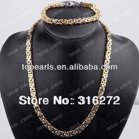 Topearl Jewelry Byzantine Box 304 Stainless Steel Mens Chain Necklace & Bracelet SSJ96