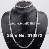 Topearl Jewelry 304 Stainless Steel Byzantine Chain Necklace & Bracelet 6mm Silver SSJ57