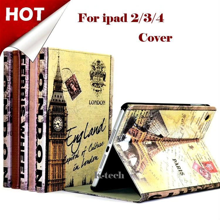 For ipad 2 3 4 Retro England Big Ben London Bridge Paris Eiffel Tower Ferris Wheel PU Leather Smart Case For apple iPad4 3 Cover(China (Mainland))