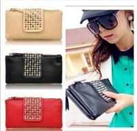 Korean Style PU Leather fashion Handbag designer Rivet Lady wallet Clutch Purse Evening Bag drop shipping Free Shipping W1259