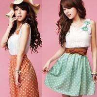 New Fashion Women's Clothing Sweet Lovely Lace Chiffon Polka Dot Casual Sundress Mini Dress(Belt for Options)