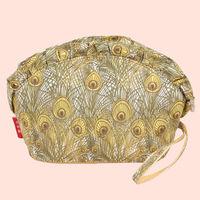 Free shipping new fashion Pale yellow cotton peacock feather ruffles elegant handbags ladies clutch bags storage cosmetic bag