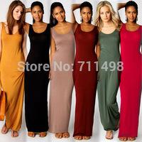 SJ Sexy elegant cotton vest long dress 9 color 3 size solid casual dresses