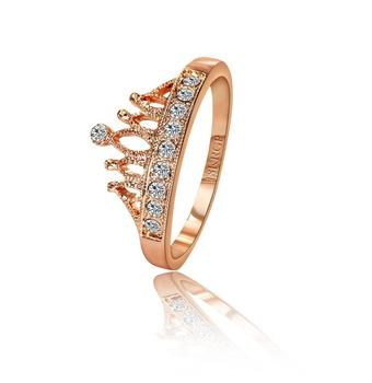 1PCS (CRP-013) 18K Розовый Золото Plated princess crown 10 PCS zircon ring Retail ...